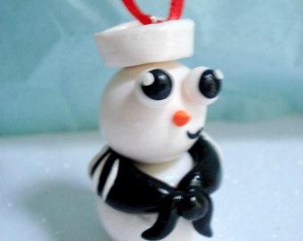 Military Christmas Ornament US Navy Snowman Ornament Polymer Clay Christmas Navy