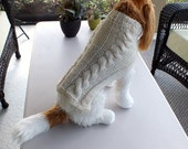 "Dog Sweater Hand Knit Irish Fisherman Double Cable Small 14"" inches long Wool"
