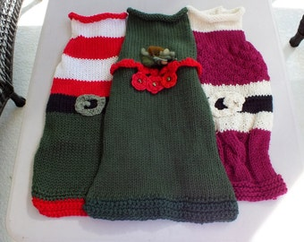 Dog Sweaters  Christmas in July SALE 3 Charming Holiday sweaters Large 18  inches long