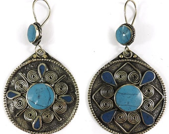 Earrings Silver Turquoise Insets Afghanistan 105139 SALE WAS 25