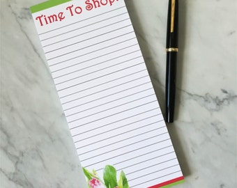 FLORAL DESK NOTEPAD, Patterned Note Pad, Magnetic List Pad, Shopping List Pad, To Do LIst, Desk Accessory, Floral Notepad