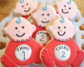 Baby Thing 1 and Thing 2 sugar cookies