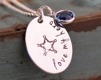 Love my hero/ Police wife / Hand Stamped Necklace / Personalized Sterling Silver Jewelry / Law enforcement wife
