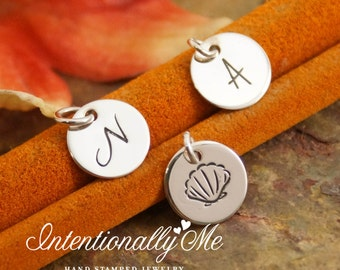 Hand Stamped Mommy Jewelry - Personalized Charm - One Tiny Flat Initial Tag