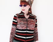 Iconic Vintage Sweater from the 70s - Short Style Zip Up Cardigan - Big Collar - Hippie Vibe