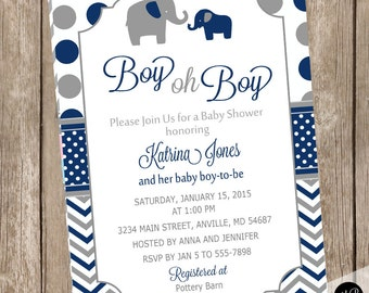 Blue and Gray Baby Shower Invitation Elephant Grey and Blue