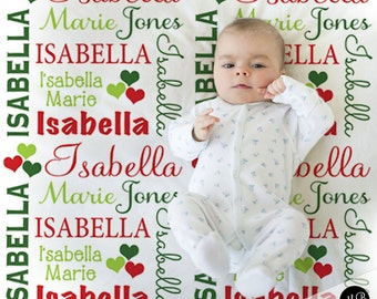 Christmas Name Blanket Hearts, Red and Green, personalized blanket, keepsake blanket, baby blanket, personalized blanket, choose colors