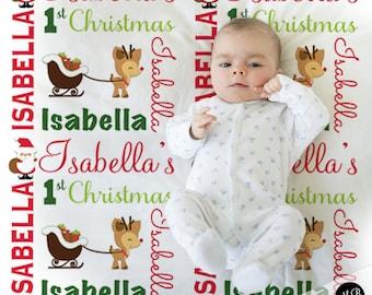 Reindeer and Santa Name Blanket, Christmas Baby Blanket, personalized blanket, keepsake blanket, personalized blanket, choose colors