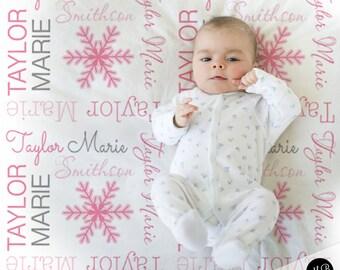 Snowflake Name Blanket for Baby Girl, Holiday Baby Blanket, personalized blanket, keepsake blanket, personalized blanket, choose colors