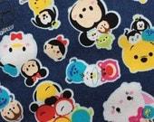 Tsum tsum denim colour fabric one yard
