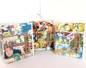 3 comic gift bags / birthday treat bags / recycled comic books