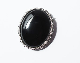 Sterling Silver Pin with Black Glass Vintage Sterling Pin USA Sterling