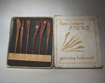 Vintage Teak Cocktail Picks - Hors D'oeuvre Picks - Teakwood