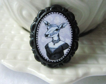 deer brooch - victorian style - black and white - small woodland animal pin
