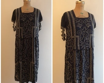 1920s Beaded Flapper Party Dress 20s Navy Blue