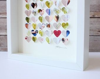 Paper hearts photo collage, Anniversary gift, Personalized gift for Her, Wife gift, Husband gift, First anniversary, paper gift, photo heart