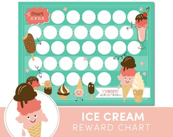Kids Reward Chart  - Ice Cream - Chore Chart for Kids - Incentive Chart