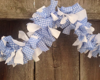 Gingham Garland, Blue and White, READY to SHIP,  Wizard of Oz, Dorothy, Farmhouse, Country, Cottage Chic, Party, Wedding, Home Decor