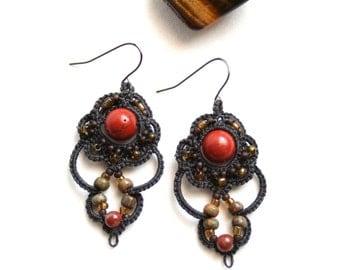 Artisan Bohemian Red Jasper Beaded Dangle Tatting Earrings