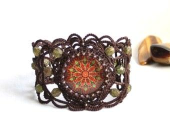 Artisan Boho Mandala Fiber Tatting Beaded Bracelet