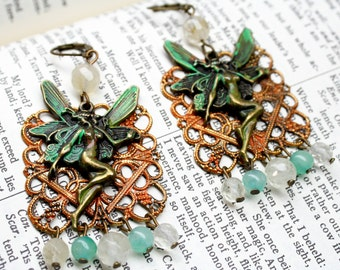 Green Fairy Earrings Filigree Gypsy Crystal and Verdigris Patina Fantasy Faerie Woodland Jewelry