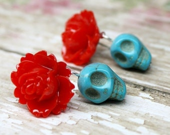 Skull Post Earrings Day of the Dead Red Flowers and Turquoise Sugar Skull Jewelry