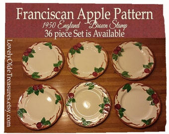 Franciscan Apple Dinner Plates- England Brown Stamp- 1940 to 1950- Mid Century- Thanksgiving Table- Holiday Party- Vintage Bride Gift