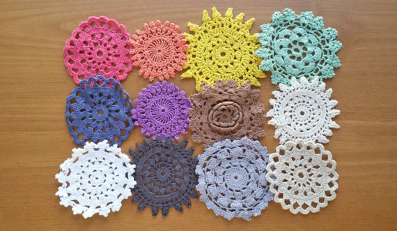 12 Hand Dyed Vintage Doilies, Rainbow of Colors, Handmade Craft Doilies