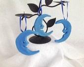Blue Moon Ornaments, Vintage Inspired Handmade Sugar Ornaments, Set of 3