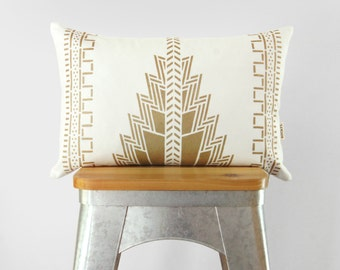 White and Gold Pillow Case Cushion Cover | Aztec, Southwestern, Navajo 12x18 Lumbar Metallic Decorative Throw Pillows | Modern Ethnic Decor