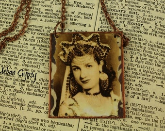 Vintage Image Of Gypsy with Crown And Necklace GYpsy Necklace Vintage Image Handcrafted Bohemian Jewelry Picture Necklace  Urban Gypsy