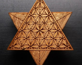 Sacred Geometry Star Tetrahedron - Wooden Hat Pin