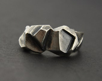 Facet Ring: Oxidised Sterling Silver Faceted Ring