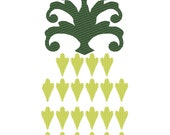 Decorative Pineapple welcome flag decoration for summer time - machine embroidery silhouette embroidery
