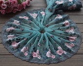 2 Yards Embroidered Lace Trim Rose Floral Embroidered Green Tulle Lace Trim 7.48 Inches Wide