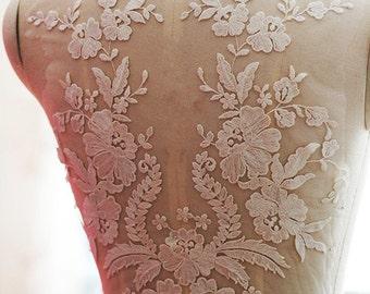 Super Luxury Lace Appliques Ivory Exquisite Lace Applique For Wedding Dress Grown Bridal Veil Bodice