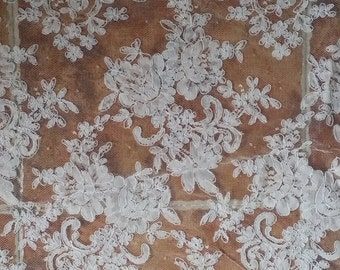 Fabulous Alencon Lace Fabric Luxury Ivory Wedding Lace Embroidered Retro Tulle Lace 51.9 Inches Wide 1 Yard