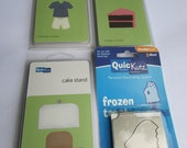 4 brand new QuicKutz Die Cuts slice of cake, popsicle, cake stand, soccer uniform