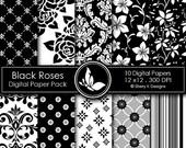 50% Off Black Roses Paper Pack - 10 Printable Digital papers - 12 x12 - 300 DPI