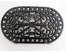 Lovely Vintage French black Cast Iron Enameled Table Mat,Trivet, French country kitchen table