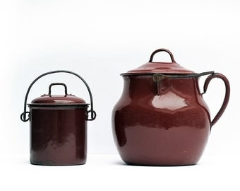 Set of 2 French Berry Pail Deep Reddish Brown Enamel canister , antique burgandy enamel canister, enamelware milkpail
