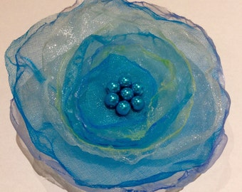 Turquoise organza flower brooch / hairclip