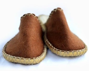 hand made, brawn felt slippers, eco friendly, natural