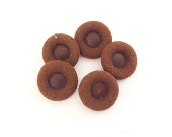 5 Brown Buttons, Fabric Buttons, Covered Buttons
