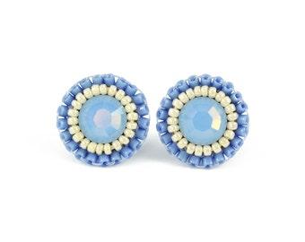 Blue stud earrings | light blue earrings | blue bridesmaid bridal earrings gift | dusty blue wedding slate blue rhinestone earrings under 40