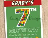 Lego Birthday Invitation Photo Card 4x6, 5x7 or 6x7.5 (costco)