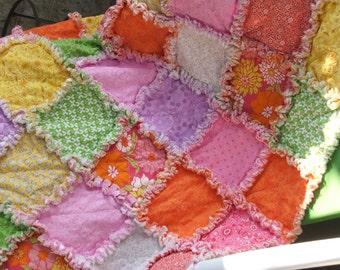 Baby Girl Rag Quilt Shabby Chic - Pink, Purple, Orange
