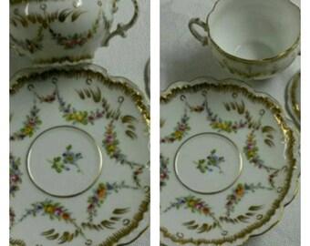 Hand Painted Covered Dresden Bouillon cup & saucer by Franziska Hirsch circa 1893-1930     #DSC