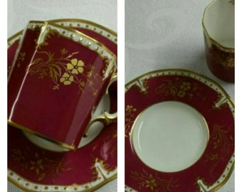 Royal Crown Derby Tea Cup and Saucer; Demi  circa 1940 plus     #DSC
