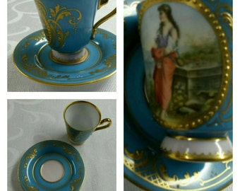 19th Century Partially Hand Painted and Signed Royal Vienna Style Demi Cup & Saucer circa late 1800's-   #DSC